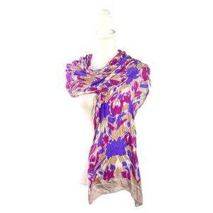 Vintage Purple Paint Abstract Floral Head Scarf